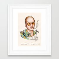 hunter s thompson Framed Art Prints featuring Hunter S Thompson - Quote by Sally Ridge