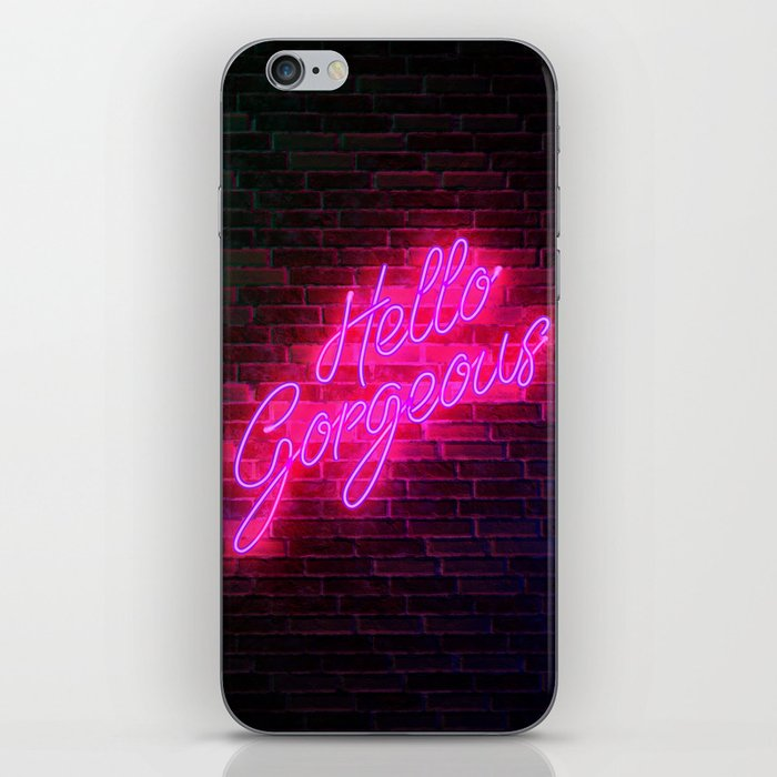 Hello Gorgeous - Neon Sign iPhone Skin