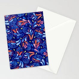 Multicolored Watercolor Paisley Florals Stationery Cards