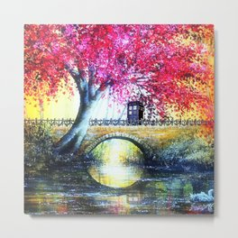 Tardis At The Bridge Autumn Blossom Metal Print