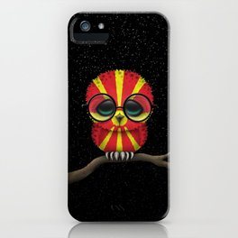 Baby Owl with Glasses and Macedonian Flag iPhone Case