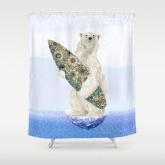 Polar bear & Surf (black) Shower Curtain