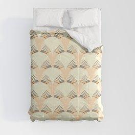 Peach art deco fan pattern Comforters