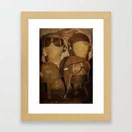 Vintage aviators helmets Framed Art Print
