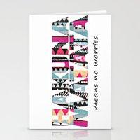 hakuna Stationery Cards featuring Hakuna Matata by Amy Copp