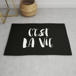 C'est La Vie black and white watercolor typography wall art home decor handwritten bedroom art inspo Rug