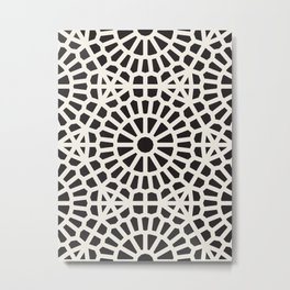 Black & White Geometric Pattern Middle Eastern Moroccan Cultural Style Circle Spirals Metal Print