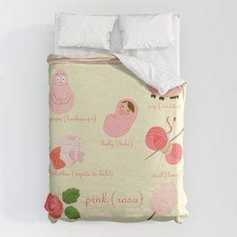 Colors: pink (Los colores: rosa) Duvet Cover