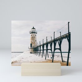 Manistee Lighthouse In Winter Mini Art Print