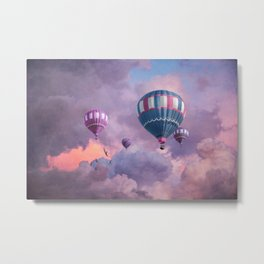 Blue, Pink, and Purple Hot Air Balloons on Pastel Clouds Metal Print
