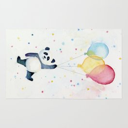 Birthday Panda Balloons Cute Animal Watercolor Rug