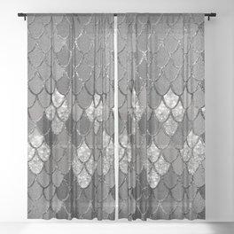 Mermaid Scales Silver Gray Glitter Glam #1 #shiny #decor #art #society6 Sheer Curtain