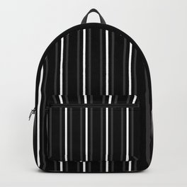 2 Dark Grey 1 White Three Stripes Pattern on Black | Vertical Stripes | Backpack