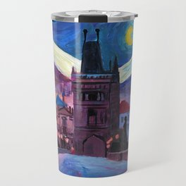 Starry Night in Prague - Van Gogh Inspirations on Charles Bridge Travel Mug
