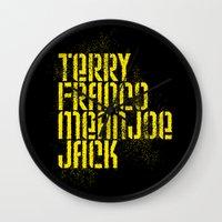 steelers Wall Clocks featuring Terry Franco Mean Joe Jack / Black by Brian Walker
