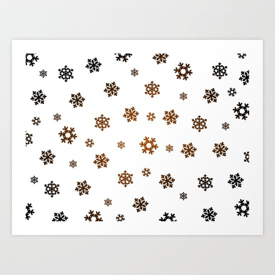 Snowflakes (Bronze and Black on White) Art Print