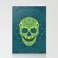 sugar skull Stationery Cards featuring Sugar skull by Julia Badeeva