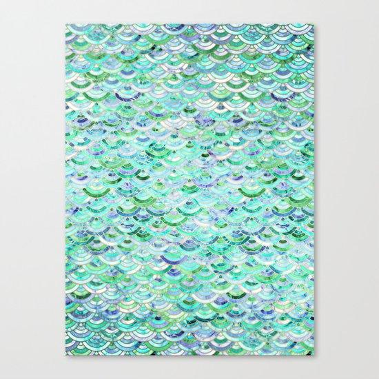 Marble Mosaic in Mint Quartz and Jade Canvas Print