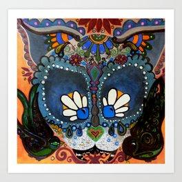 Bollywood Cat Dia de los Muertos Art Print