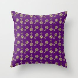 victorian crosses purple Throw Pillow