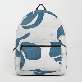 Azure South pacific sea shells - white marble Backpack