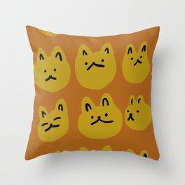 Weird Cat Faces - Sienna brown and burnt mustard Throw Pillow