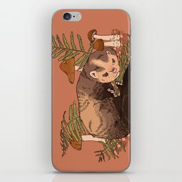 Sleeping Ferret with Ferns and Mushrooms iPhone Skin