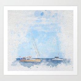 Sail boats on a calm sea Art Print