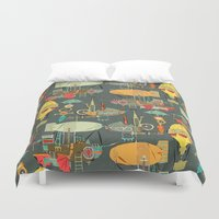 aviation Duvet Covers featuring steampunk sky dark by Sharon Turner