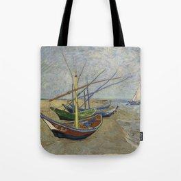 """Vincent Van Gogh """"Fishing boats on the Beach at Les Saintes-Maries-de-la-Mer"""" Tote Bag"""