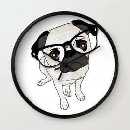 Pug Wearing Spectacles Wall Clock