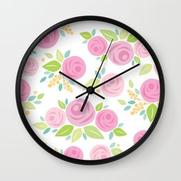 Paper Roses & Leaves Pattern Wall Clock