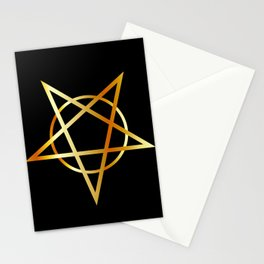 Golden inverted upside down Pentagram antichrist symbol Stationery Cards