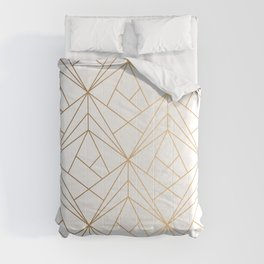 Geometric Gold Pattern With White Shimmer Comforters