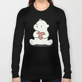Kawaii Cute Polar Bear With Heart Long Sleeve T-shirt