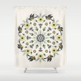 Blackbird Floral Mandala Shower Curtain