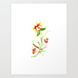 Subtle fantasy plant with different flowers and leaves on the white background Art Print
