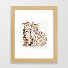 Bengal Cats Love Watercolor Ink Art Framed Art Print
