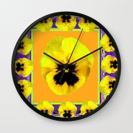 LILAC FRAMED YELLOW  PANSY GARDEN FLOWERS Wall Clock