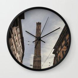 Two Towers, Bologna, Emilia Romagna, Italy, street photography, Torre degli Asinelli, italian city Wall Clock