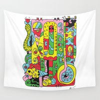 ice cream Wall Tapestries featuring Ice Cream by Rabassa