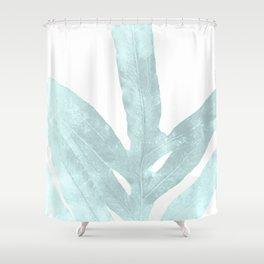 Ice Blue Fern in Summer White Shower Curtain