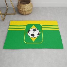 Brazil Flag Football Sketch Rug