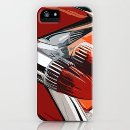 Classic Red Car with Chrome Bullet Lights iPhone Case