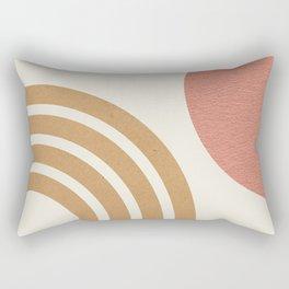 Mid century modern pink Sun & Rainbow Rectangular Pillow