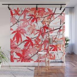 red orange maple leaves watercolor painting 2 Wall Mural