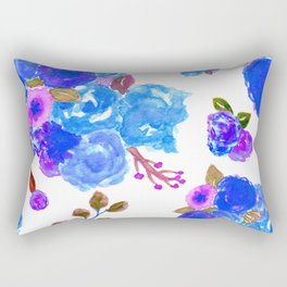 Watercolor Bouquet Floral in White + Blue Rectangular Pillow