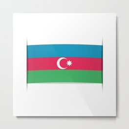 Flag of Azerbaijan. The slit in the paper with shadows.  Metal Print