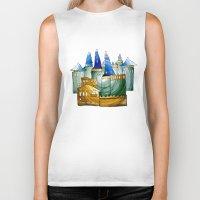 castle Biker Tanks featuring Castle by Irina  Mushkar'ova