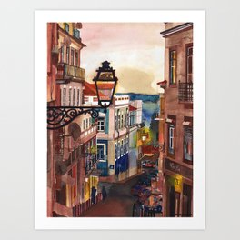 Wine Bar in Lisbon Art Print
